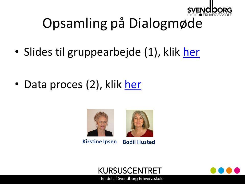 Opsamling på Dialogmøde Slides til gruppearbejde (1), klik herher Data proces (2), klik herher Bodil Husted Kirstine Ipsen