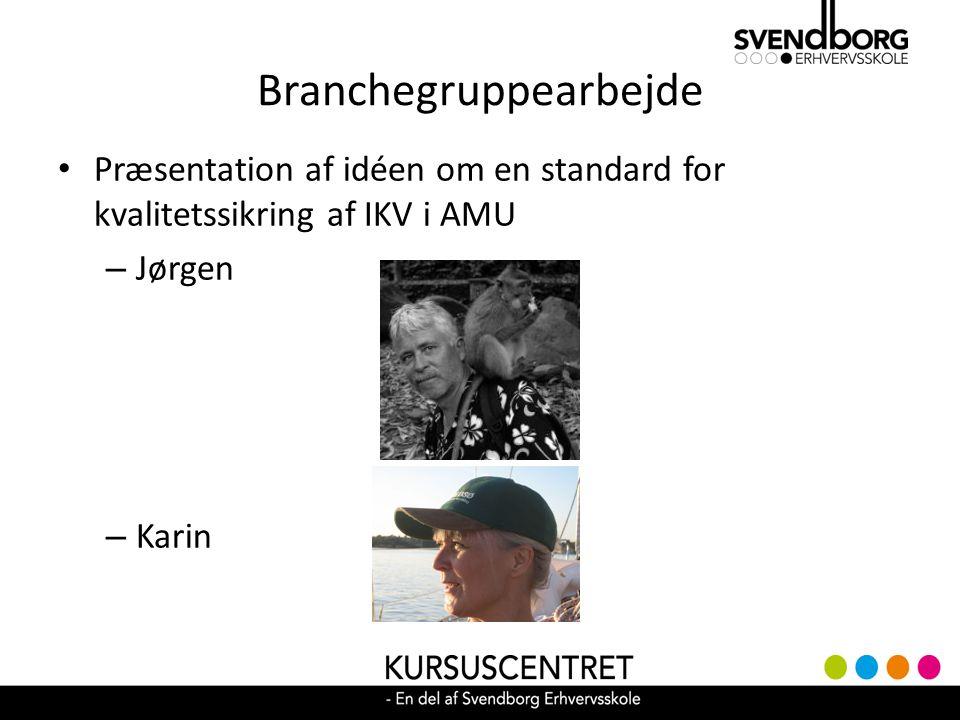 Branchegruppearbejde Præsentation af idéen om en standard for kvalitetssikring af IKV i AMU – Jørgen – Karin