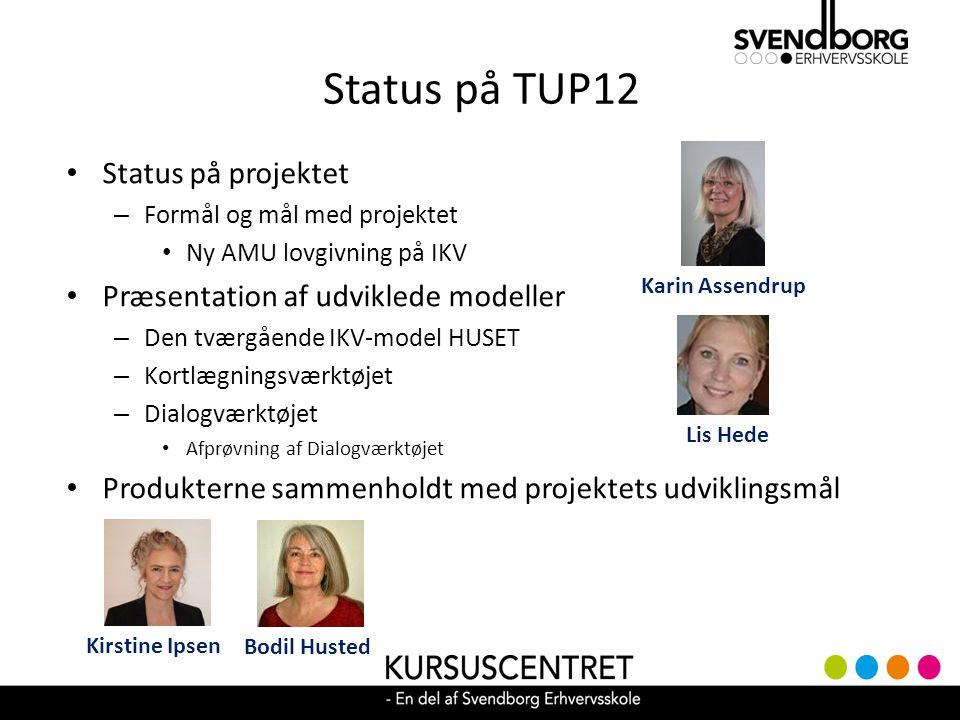 Status på TUP12 Status på projektet – Formål og mål med projektet Ny AMU lovgivning på IKV Præsentation af udviklede modeller – Den tværgående IKV-model HUSET – Kortlægningsværktøjet – Dialogværktøjet Afprøvning af Dialogværktøjet Produkterne sammenholdt med projektets udviklingsmål Lis Hede Karin Assendrup Bodil Husted Kirstine Ipsen