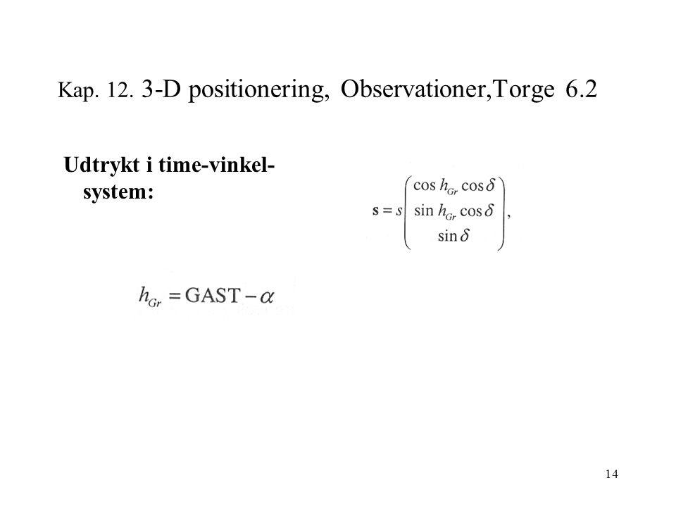 14 Kap. 12. 3-D positionering, Observationer,Torge 6.2 Udtrykt i time-vinkel- system: