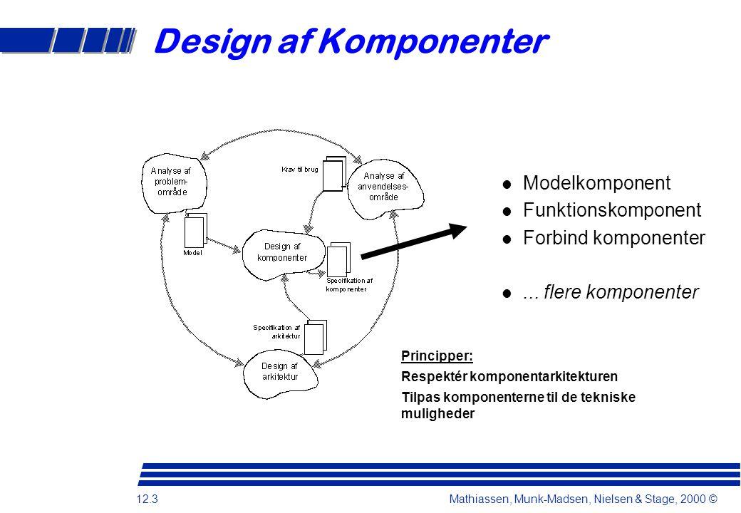 12.3 Mathiassen, Munk-Madsen, Nielsen & Stage, 2000 © Design af Komponenter Principper: Respektér komponentarkitekturen Tilpas komponenterne til de tekniske muligheder l Modelkomponent l Funktionskomponent l Forbind komponenter l...