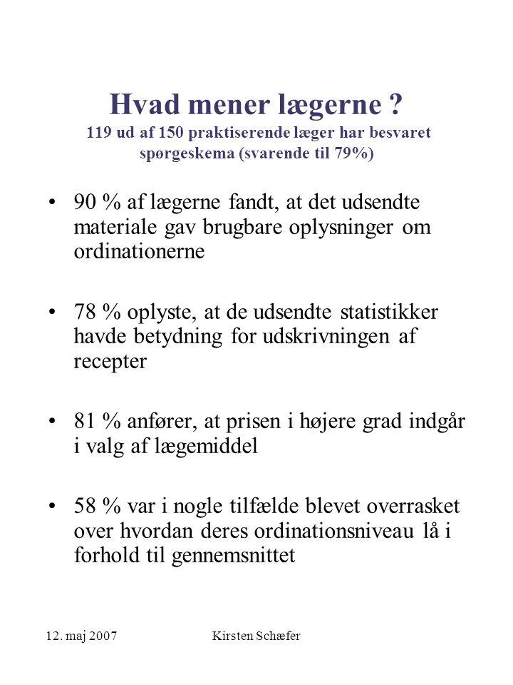 12. maj 2007Kirsten Schæfer Hvad mener lægerne .