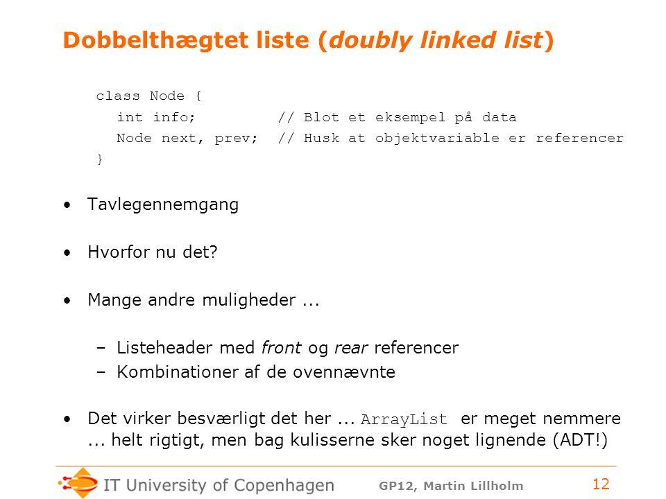 GP12, Martin Lillholm 12 Dobbelthægtet liste (doubly linked list) class Node { int info; // Blot et eksempel på data Node next, prev; // Husk at objektvariable er referencer } Tavlegennemgang Hvorfor nu det.