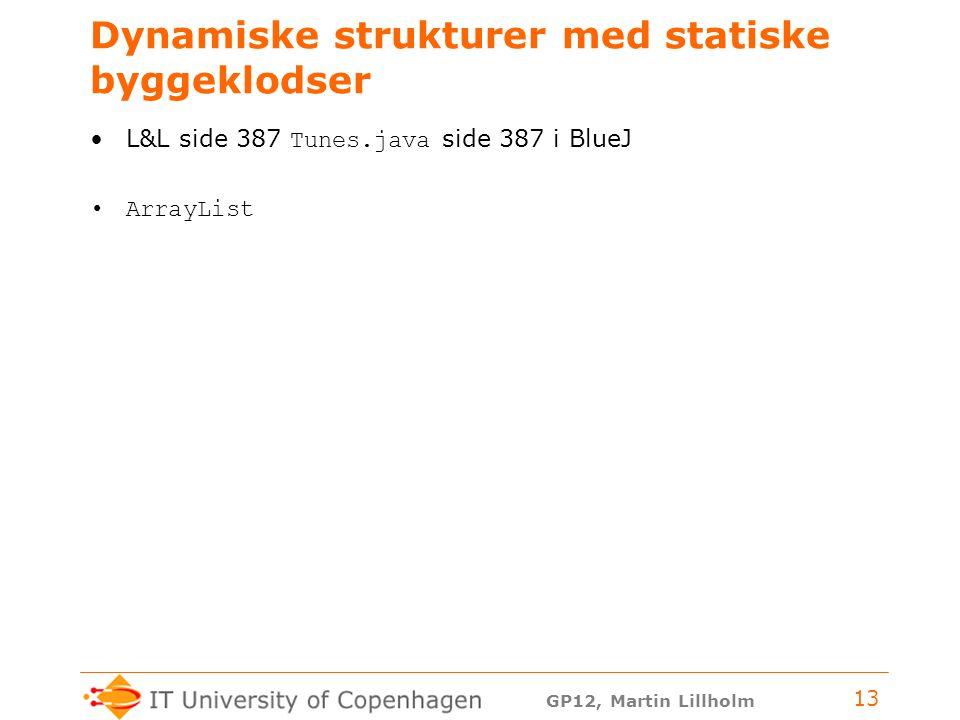 GP12, Martin Lillholm 13 Dynamiske strukturer med statiske byggeklodser L&L side 387 Tunes.java side 387 i BlueJ ArrayList