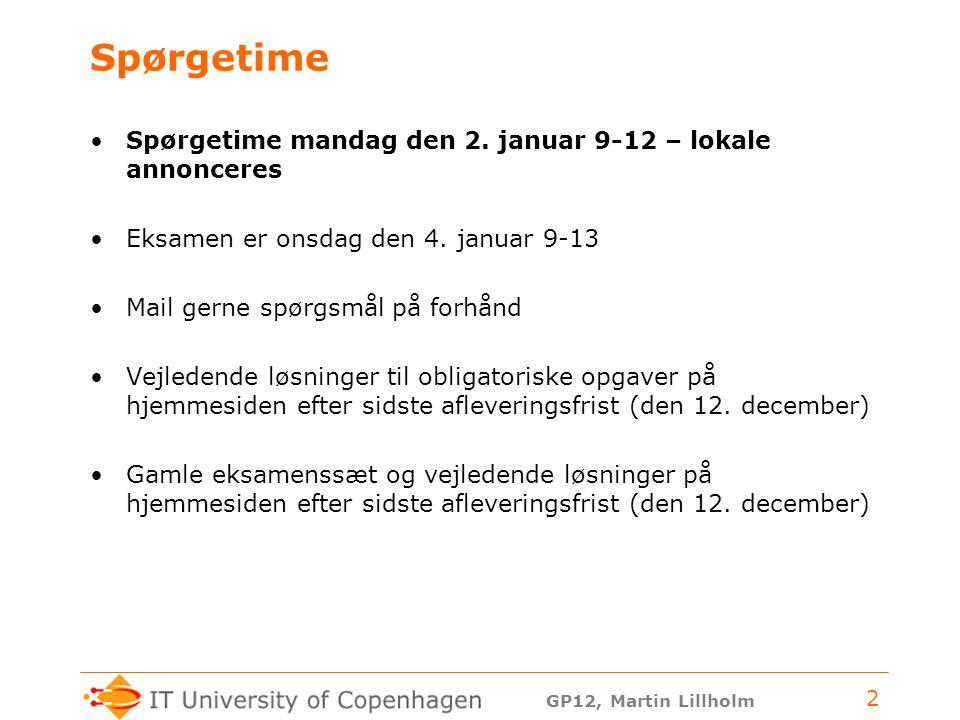 GP12, Martin Lillholm 2 Spørgetime Spørgetime mandag den 2.