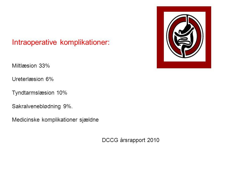 Postoperative komplikationer: Anastomoselækage 15 % Sårruptur 9% Sårabsces 14 % Intraabdominal absces 6 % Ileus 5 % Medicinske komplikationer i alt 43% (Sepsis 8%, AMI 7%, pneumoni 12 %, lungeinsufficiens 7%) DCCG årsrapport 2010