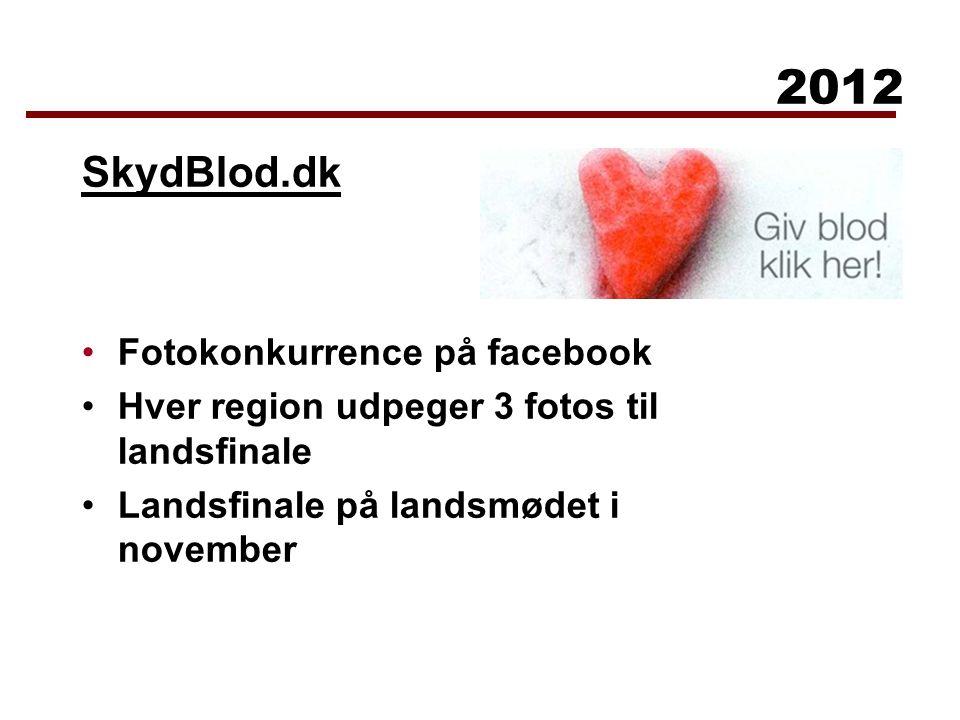 SkydBlod.dk Fotokonkurrence på facebook Hver region udpeger 3 fotos til landsfinale Landsfinale på landsmødet i november 2012