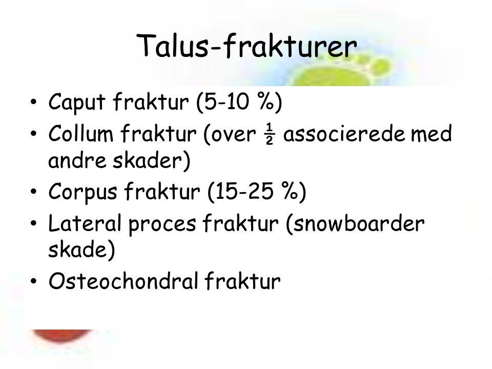 Talus-frakturer Caput fraktur (5-10 %) Collum fraktur (over ½ associerede med andre skader) Corpus fraktur (15-25 %) Lateral proces fraktur (snowboarder skade) Osteochondral fraktur