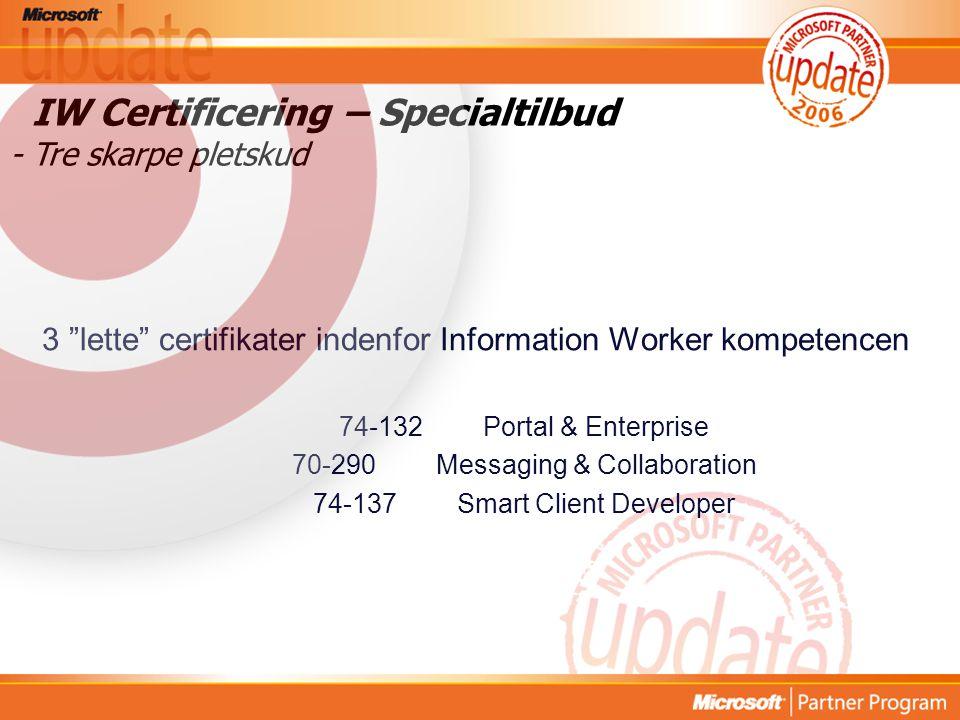IW Certificering – Specialtilbud - Tre skarpe pletskud 3 lette certifikater indenfor Information Worker kompetencen 74-132Portal & Enterprise 70-290Messaging & Collaboration 74-137Smart Client Developer
