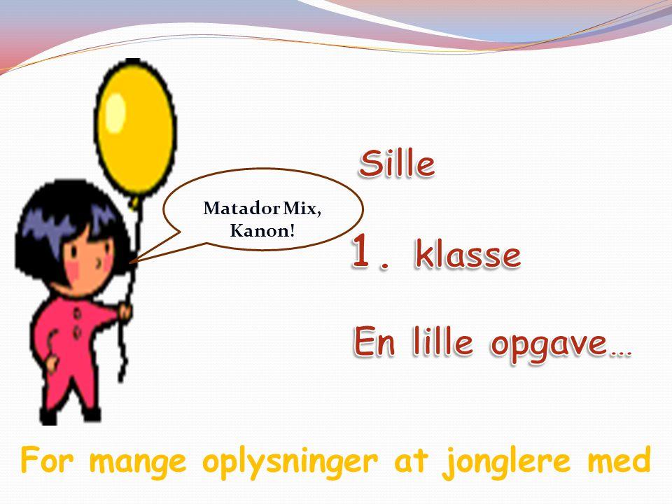 For mange oplysninger at jonglere med Matador Mix, Kanon!