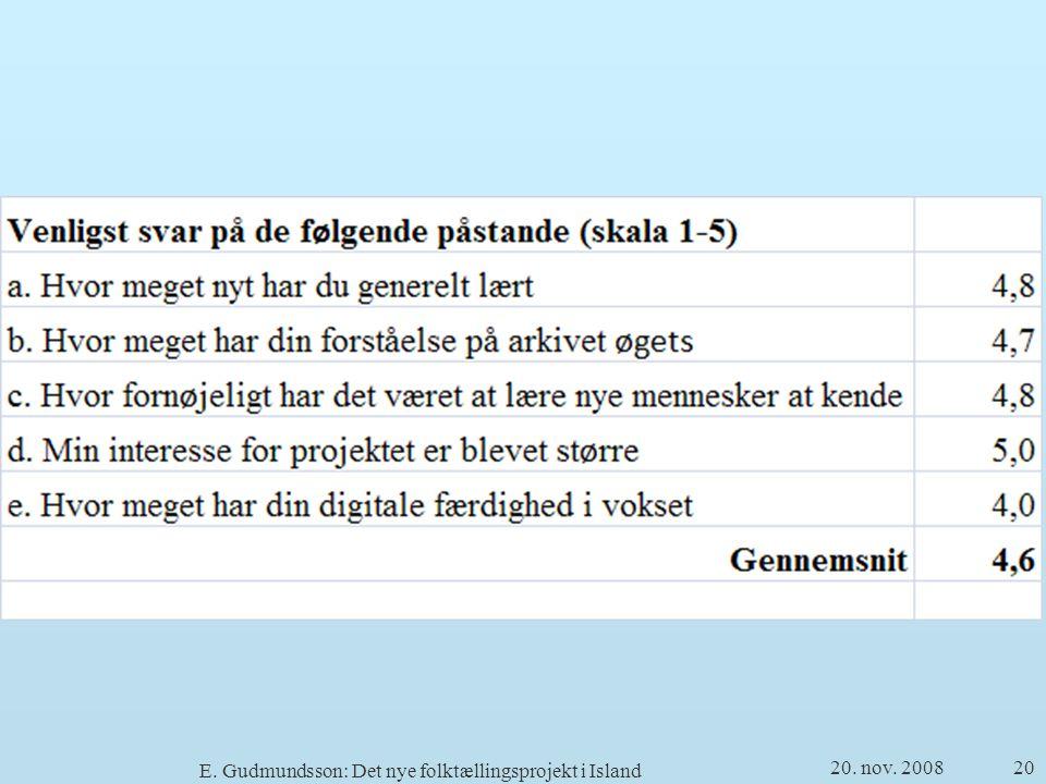 20. nov. 2008 E. Gudmundsson: Det nye folktællingsprojekt i Island 20