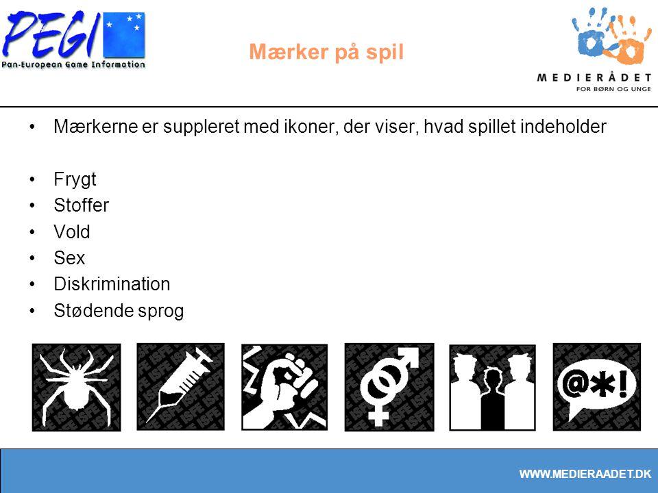 WWW.MEDIERAADET.DK Mærker på spil Mærkerne er suppleret med ikoner, der viser, hvad spillet indeholder Frygt Stoffer Vold Sex Diskrimination Stødende sprog