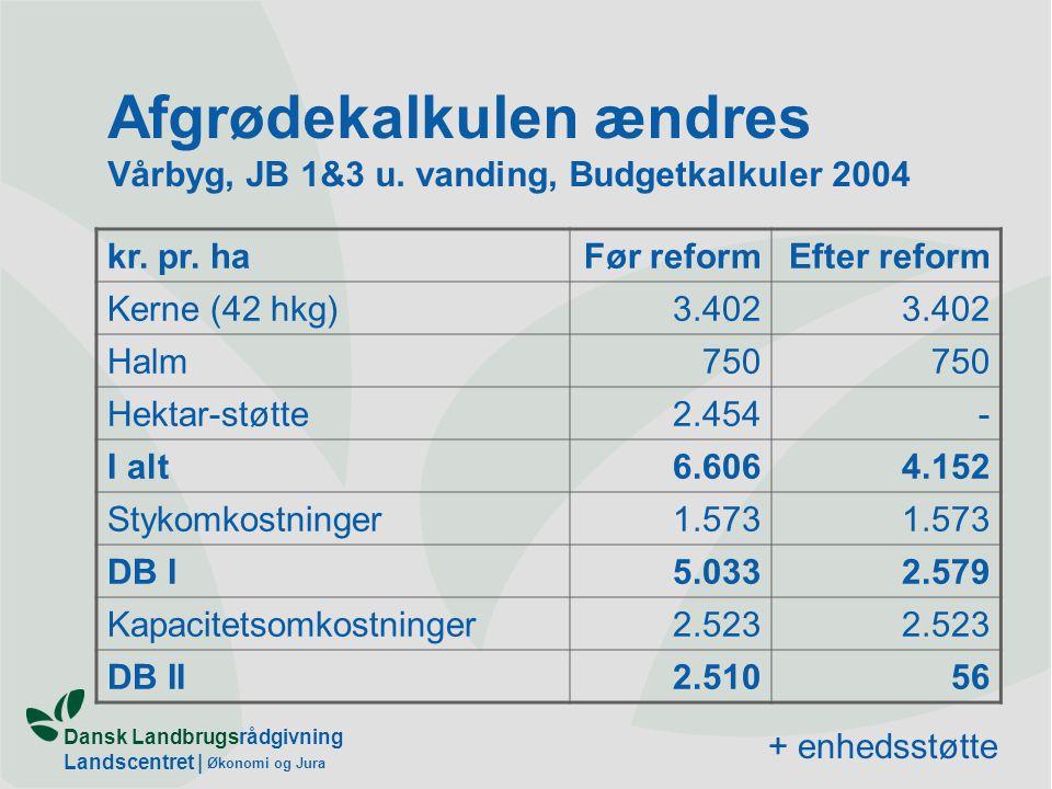 Dansk Landbrugsrådgivning Landscentret | Økonomi og Jura Afgrødekalkulen ændres Vårbyg, JB 1&3 u.