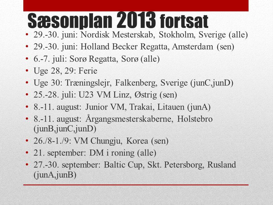 Sæsonplan 2013 fortsat 29.-30. juni: Nordisk Mesterskab, Stokholm, Sverige (alle) 29.-30.