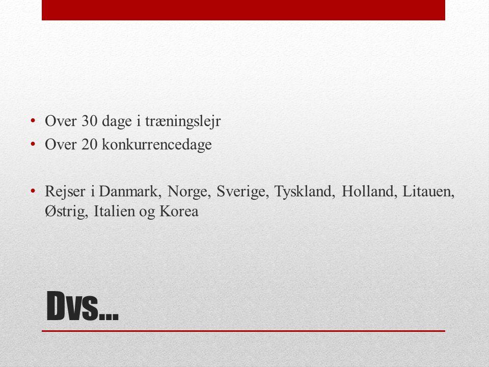 Dvs… Over 30 dage i træningslejr Over 20 konkurrencedage Rejser i Danmark, Norge, Sverige, Tyskland, Holland, Litauen, Østrig, Italien og Korea