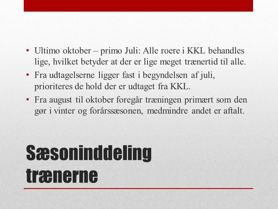 Sæsoninddeling trænerne Ultimo oktober – primo Juli: Alle roere i KKL behandles lige, hvilket betyder at der er lige meget trænertid til alle.