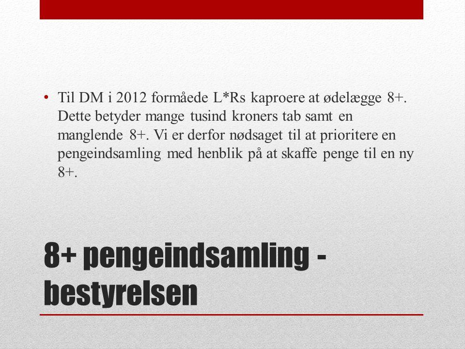 8+ pengeindsamling - bestyrelsen Til DM i 2012 formåede L*Rs kaproere at ødelægge 8+.