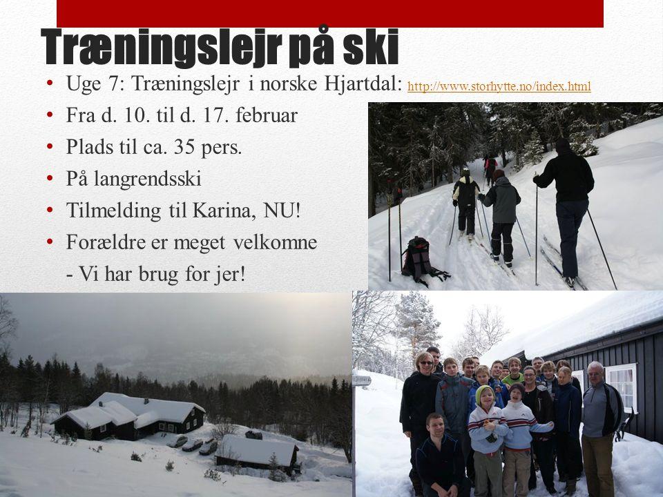 Træningslejr på ski Uge 7: Træningslejr i norske Hjartdal: http://www.storhytte.no/index.html http://www.storhytte.no/index.html Fra d.