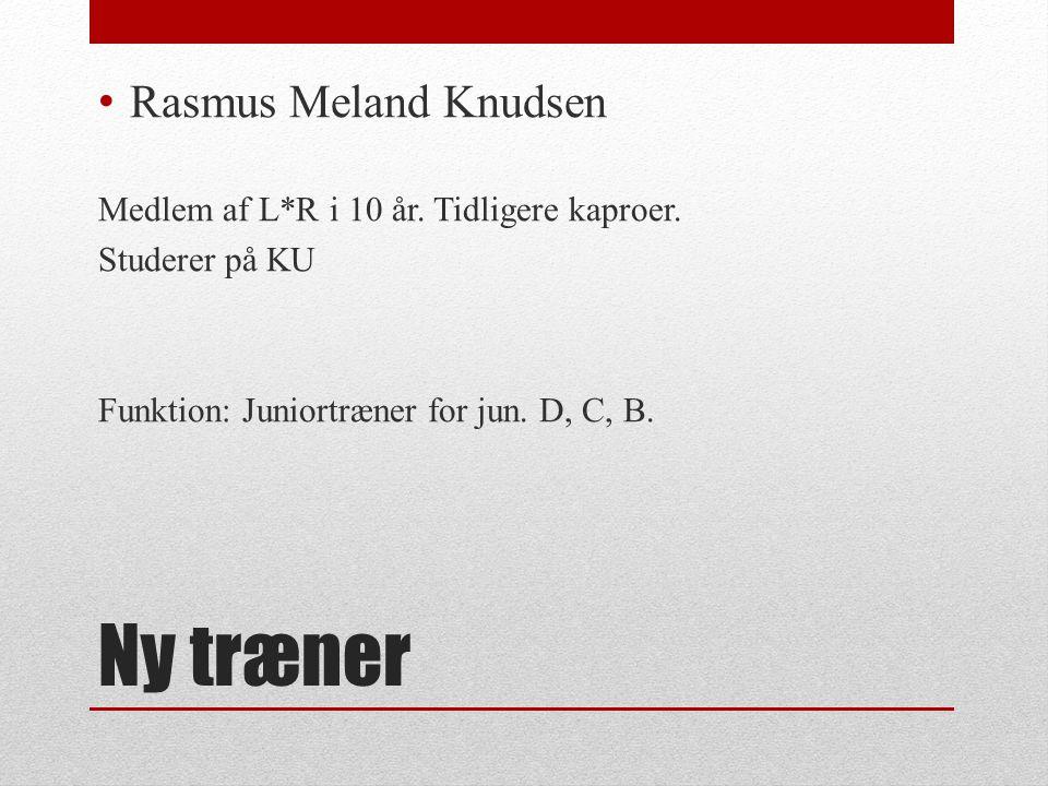 Ny træner Rasmus Meland Knudsen Medlem af L*R i 10 år.