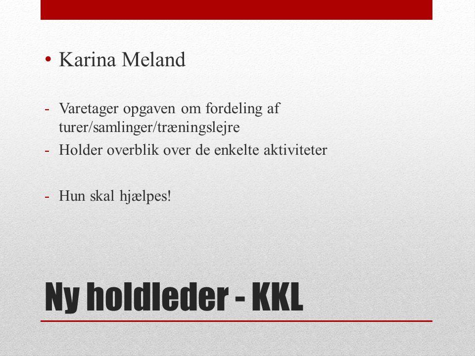 Ny holdleder - KKL Karina Meland -Varetager opgaven om fordeling af turer/samlinger/træningslejre -Holder overblik over de enkelte aktiviteter -Hun skal hjælpes!