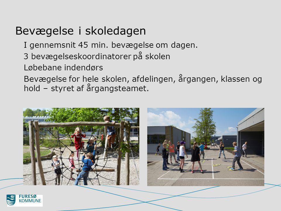 Bevægelse i skoledagen I gennemsnit 45 min. bevægelse om dagen.