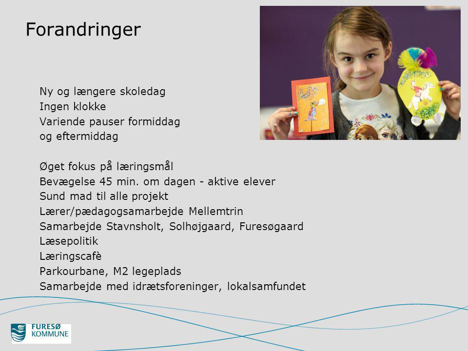 Forandringer Ny og længere skoledag Ingen klokke Variende pauser formiddag og eftermiddag Øget fokus på læringsmål Bevægelse 45 min.