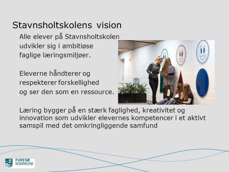 Stavnsholtskolens vision Alle elever på Stavnsholtskolen udvikler sig i ambitiøse faglige læringsmiljøer.