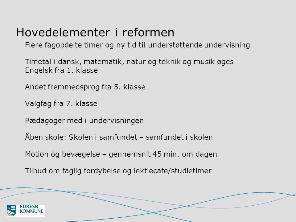 Hovedelementer i reformen Flere fagopdelte timer og ny tid til understøttende undervisning Timetal i dansk, matematik, natur og teknik og musik øges Engelsk fra 1.