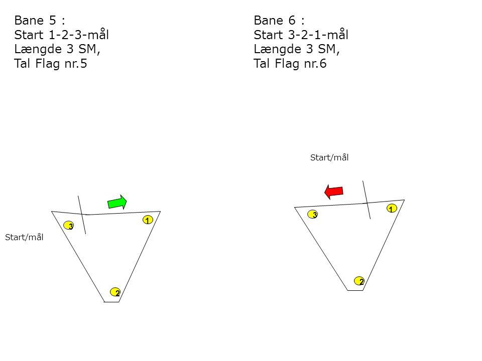 2 3 1 Start/mål 2 3 1 Bane 5 : Start 1-2-3-mål Længde 3 SM, Tal Flag nr.5 Bane 6 : Start 3-2-1-mål Længde 3 SM, Tal Flag nr.6