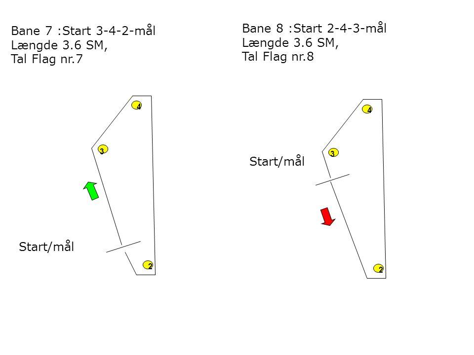 4 2 3 Start/mål 4 2 3 Bane 7 :Start 3-4-2-mål Længde 3.6 SM, Tal Flag nr.7 Bane 8 :Start 2-4-3-mål Længde 3.6 SM, Tal Flag nr.8