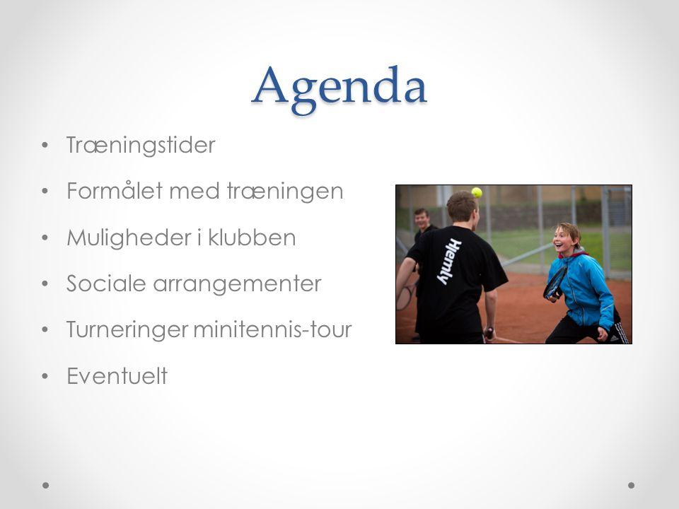 Agenda Træningstider Formålet med træningen Muligheder i klubben Sociale arrangementer Turneringer minitennis-tour Eventuelt