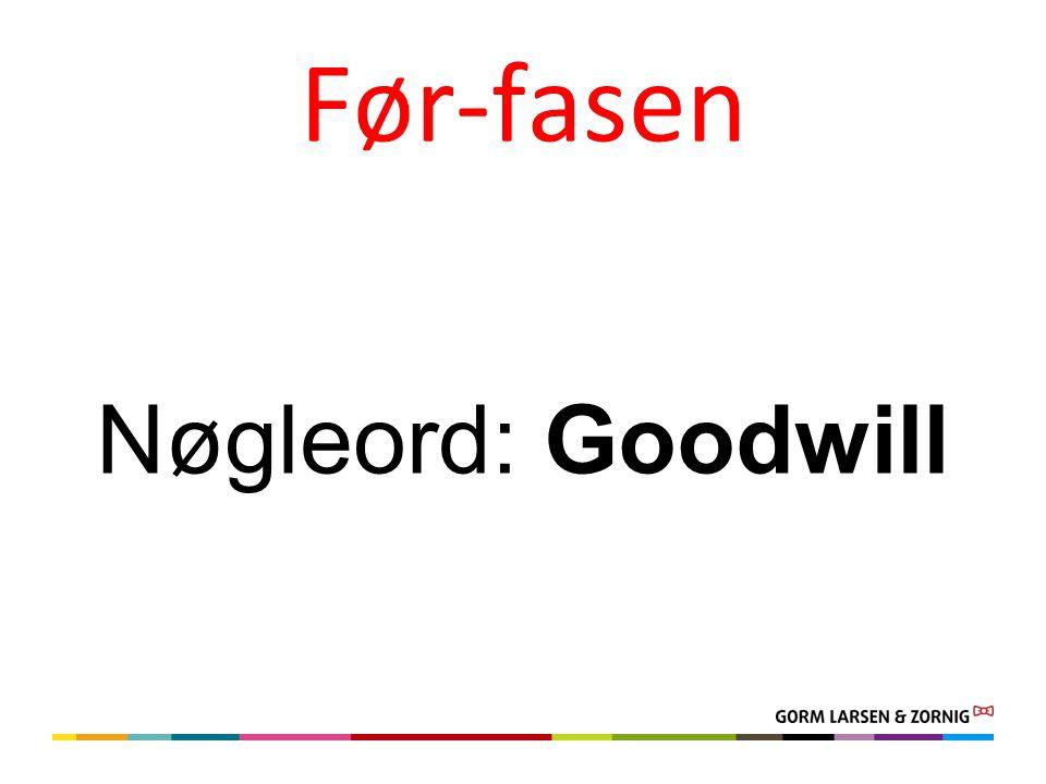 Før-fasen Nøgleord: Goodwill