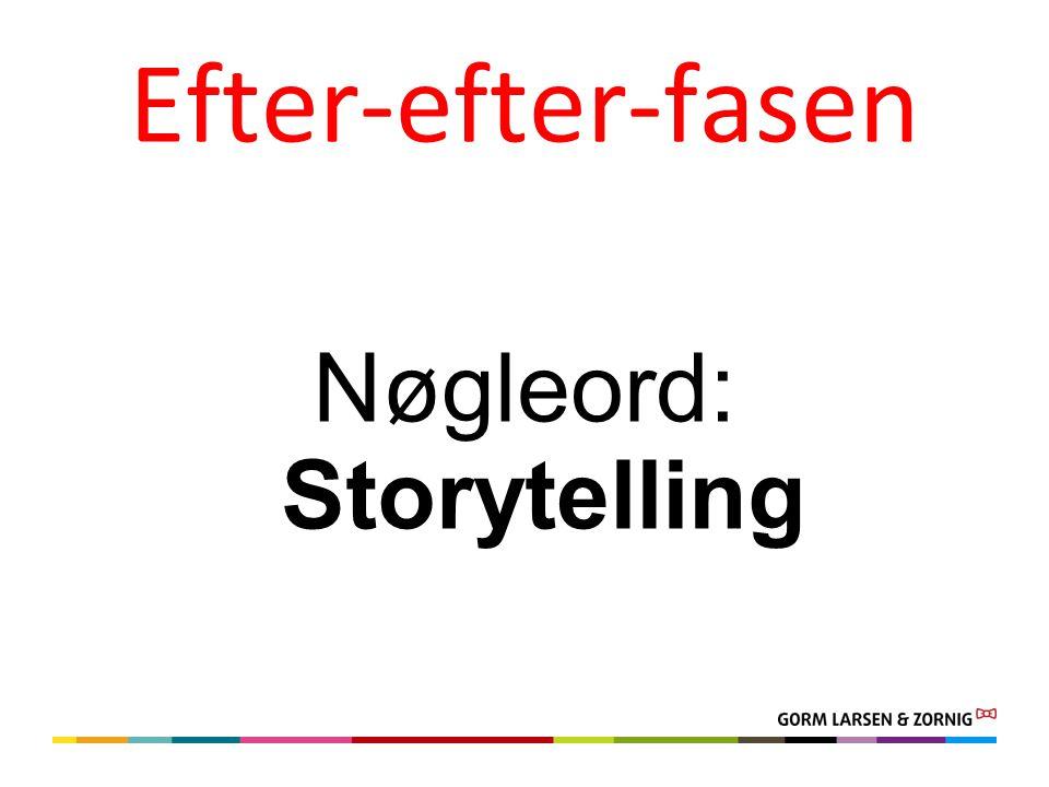 Efter-efter-fasen Nøgleord: Storytelling