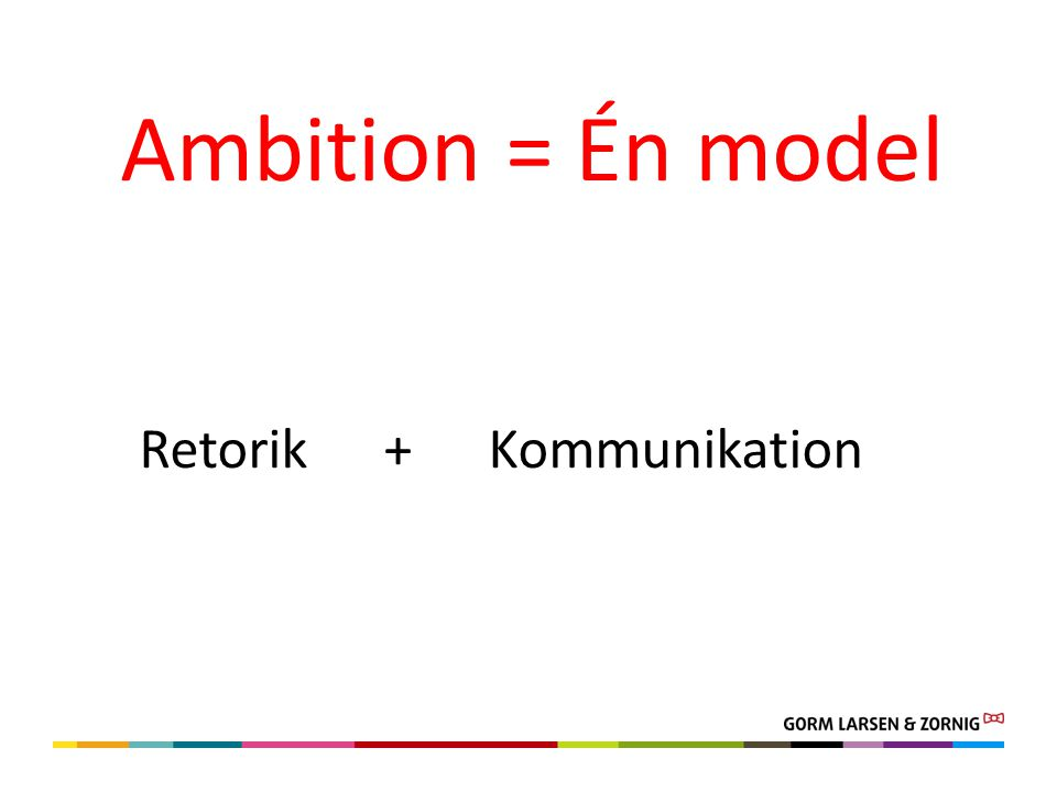 Retorik + Kommunikation Ambition = Én model