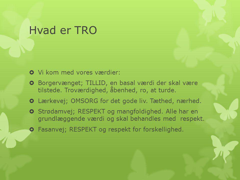 Hvad er TRO  Vi kom med vores værdier:  Borgervænget; TILLID, en basal værdi der skal være tilstede.
