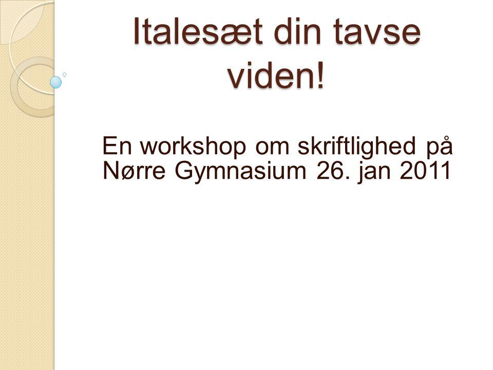 Italesæt din tavse viden! En workshop om skriftlighed på Nørre Gymnasium 26. jan 2011