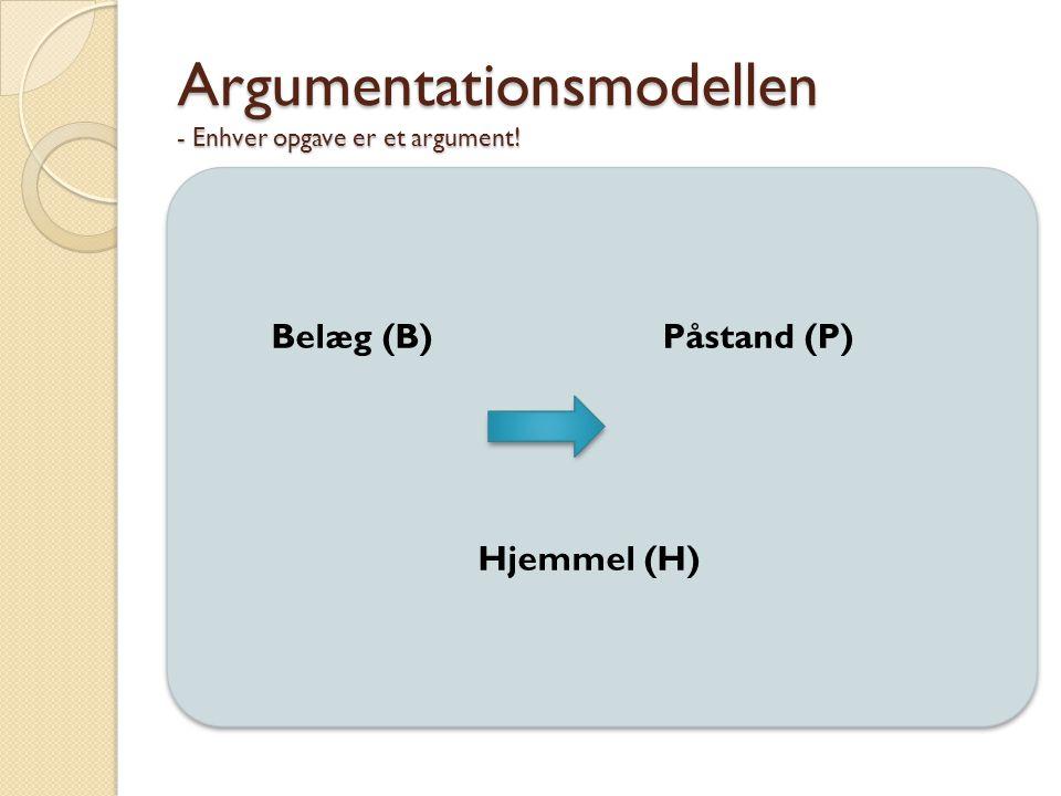 Argumentationsmodellen - Enhver opgave er et argument! Belæg (B) Påstand (P) Hjemmel (H)