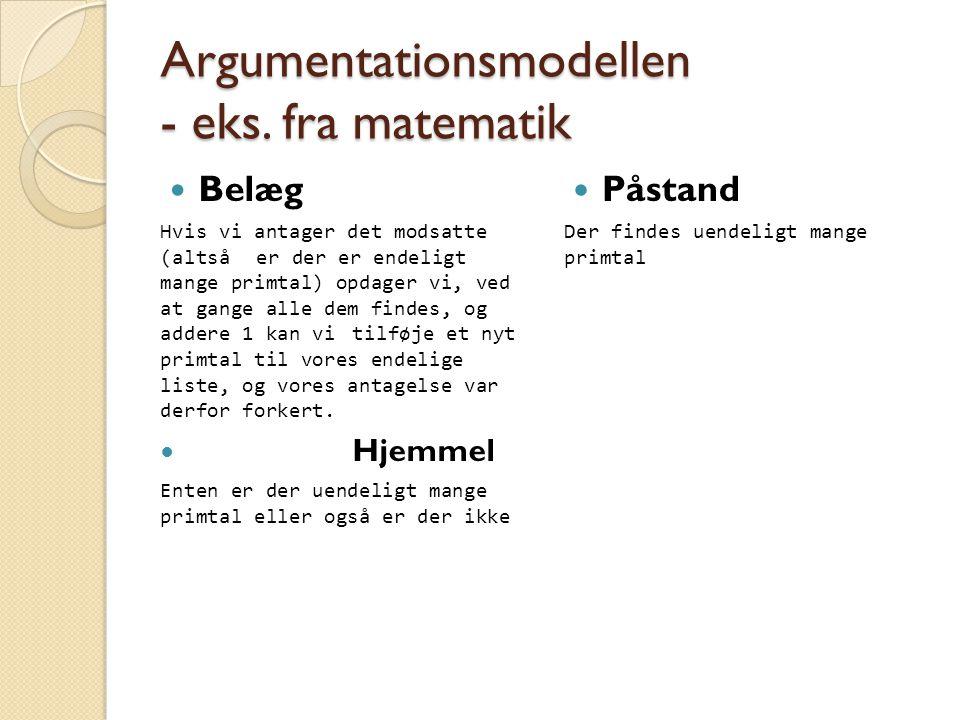 Argumentationsmodellen - eks.