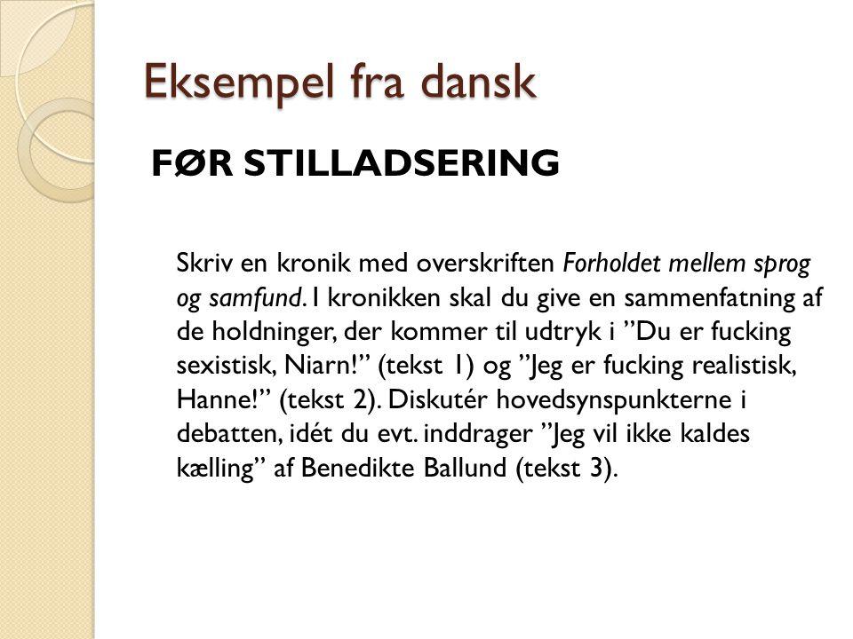 Eksempel fra dansk FØR STILLADSERING Skriv en kronik med overskriften Forholdet mellem sprog og samfund.