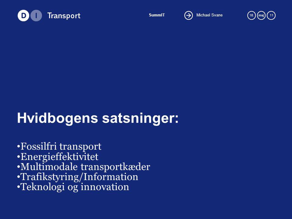 Michael Svane SummIT 18.maj 11 Hvidbogens satsninger: Fossilfri transport Energieffektivitet Multimodale transportkæder Trafikstyring/Information Teknologi og innovation