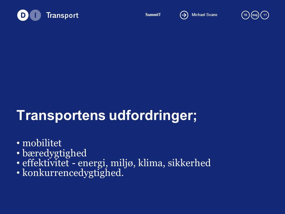 Michael Svane SummIT 18.maj 11 Transportens udfordringer; mobilitet bæredygtighed effektivitet - energi, miljø, klima, sikkerhed konkurrencedygtighed.