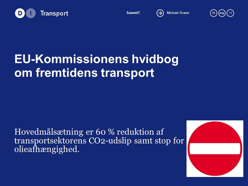 Michael Svane SummIT 18.maj 11 EU-Kommissionens hvidbog om fremtidens transport Hovedmålsætning er 60 % reduktion af transportsektorens CO2-udslip samt stop for olieafhængighed.