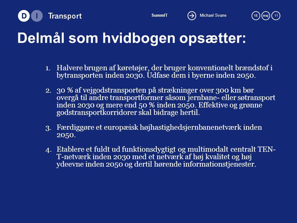 Michael Svane SummIT 18.maj 11 Delmål som hvidbogen opsætter: 1.Halvere brugen af køretøjer, der bruger konventionelt brændstof i bytransporten inden 2030.