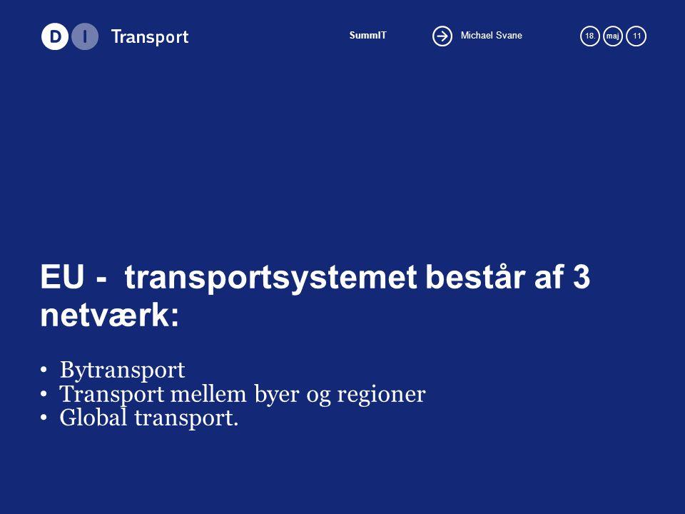 Michael Svane SummIT 18.maj 11 EU - transportsystemet består af 3 netværk: Bytransport Transport mellem byer og regioner Global transport.