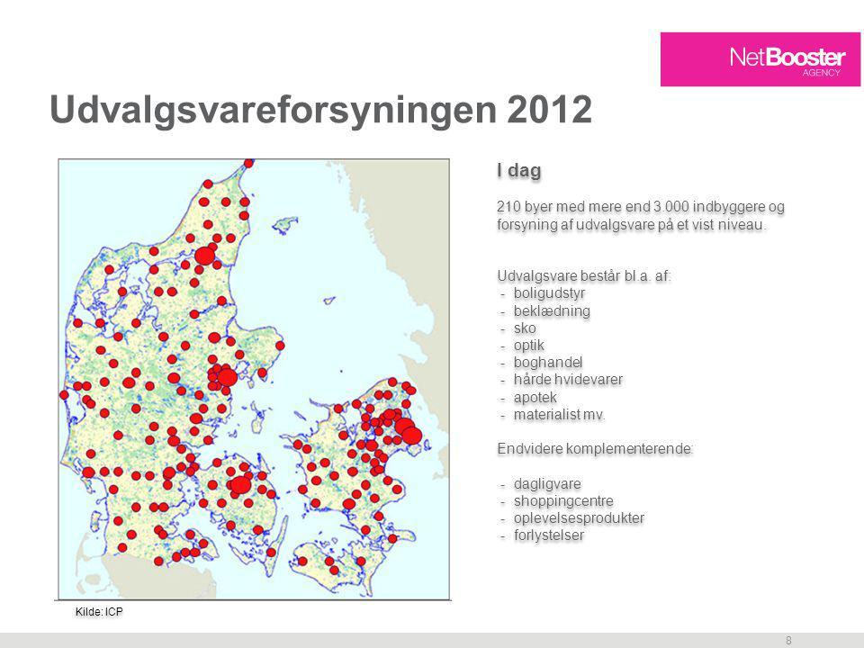 8 Udvalgsvareforsyningen 2012 I dag 210 byer med mere end 3.000 indbyggere og forsyning af udvalgsvare på et vist niveau.