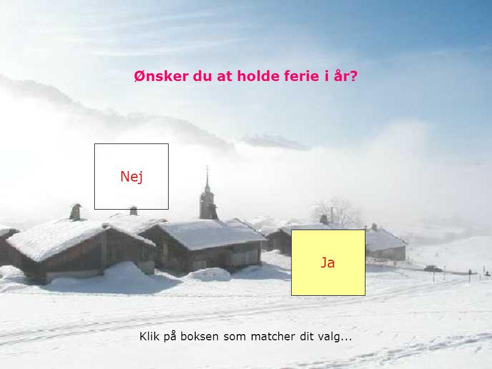 Ønsker du at holde ferie i år Nej Ja Klik på boksen som matcher dit valg...