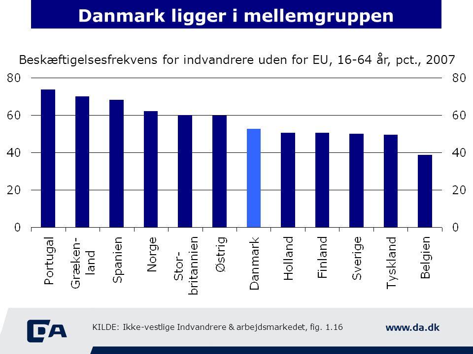 Danmark ligger i mellemgruppen Beskæftigelsesfrekvens for indvandrere uden for EU, 16-64 år, pct., 2007 KILDE: Ikke-vestlige Indvandrere & arbejdsmarkedet, fig.