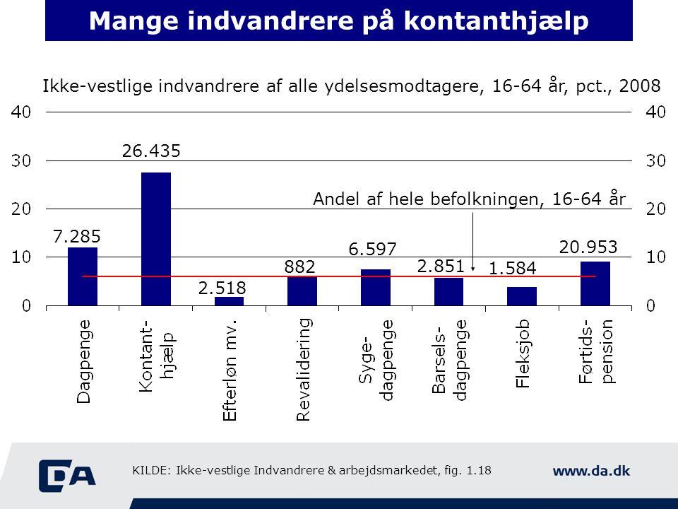Mange indvandrere på kontanthjælp Ikke-vestlige indvandrere af alle ydelsesmodtagere, 16-64 år, pct., 2008 Andel af hele befolkningen, 16-64 år 7.285 26.435 2.518 882 6.597 2.851 1.584 20.953 KILDE: Ikke-vestlige Indvandrere & arbejdsmarkedet, fig.