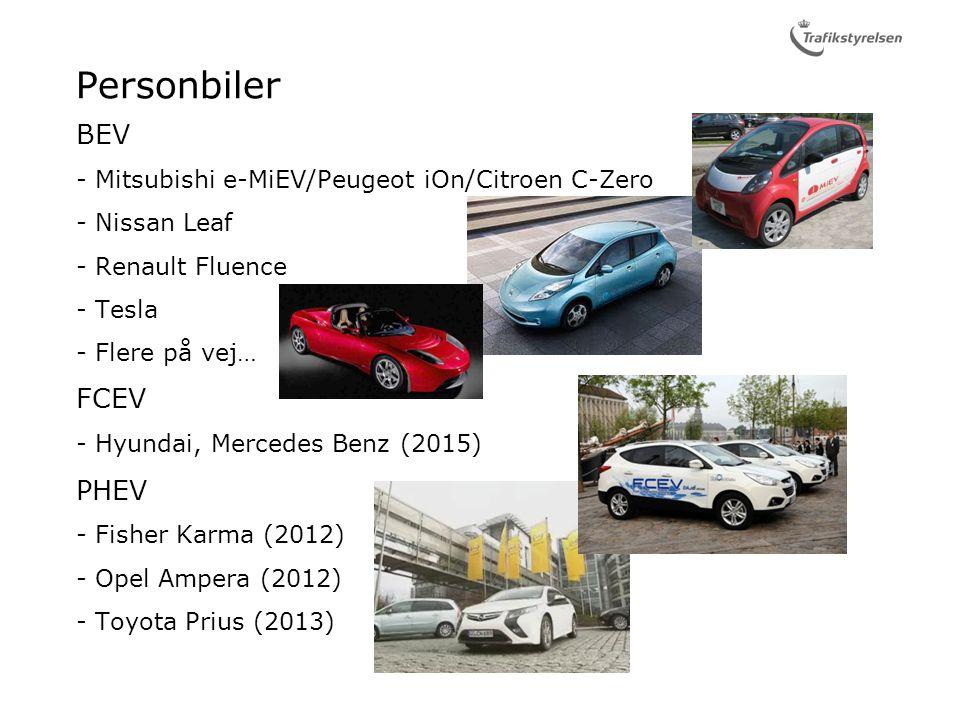 Personbiler BEV Mitsubishi e-MiEV/Peugeot iOn/Citroen C-Zero Nissan Leaf Renault Fluence Tesla Flere på vej… FCEV Hyundai, Mercedes Benz (2015) PHEV Fisher Karma (2012) Opel Ampera (2012) Toyota Prius (2013)