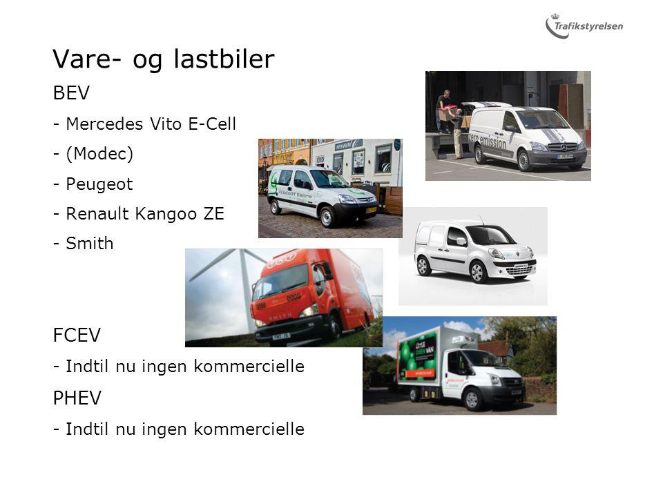 Vare- og lastbiler BEV Mercedes Vito E-Cell (Modec) Peugeot Renault Kangoo ZE Smith FCEV Indtil nu ingen kommercielle PHEV Indtil nu ingen kommercielle
